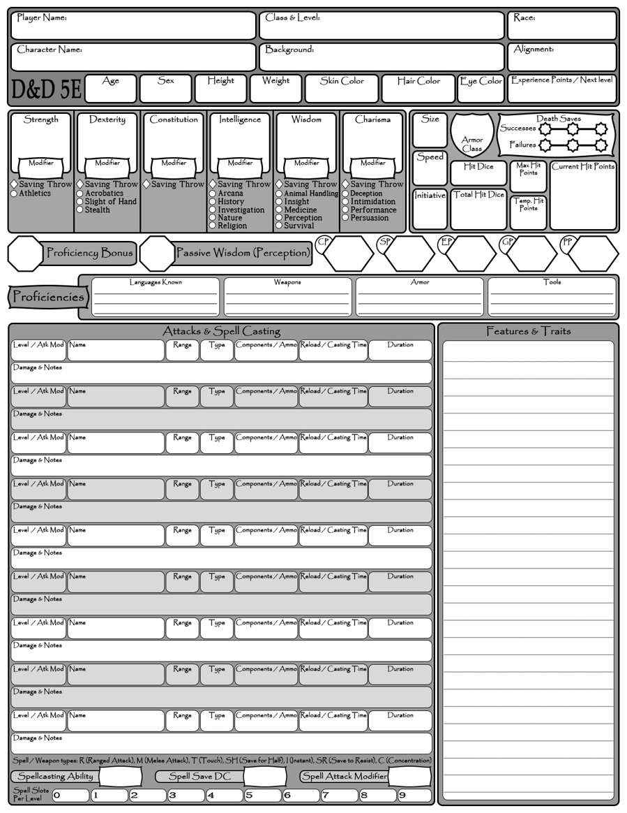 Condensed 5E Character Sheet - Dungeon Masters Guild