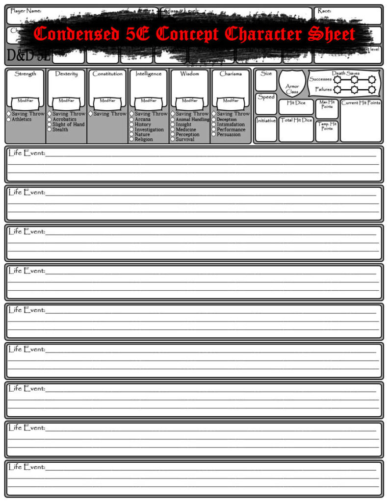 Condensed 5E Concept Character Sheet   Dungeon Masters Guild