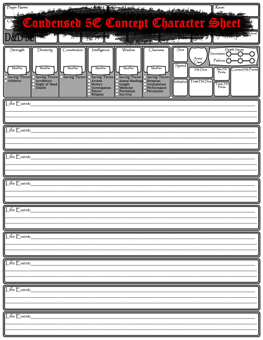 Condensed 5E Concept Character Sheet - Dungeon Masters Guild