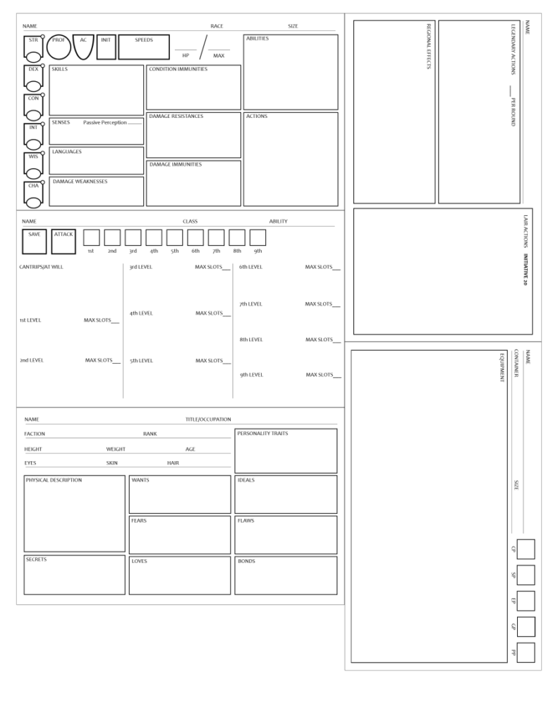 Condensed Npc/monster Sheets   Printable Pdfs   Dungeon Masters Guild |  Dungeon Masters Guild
