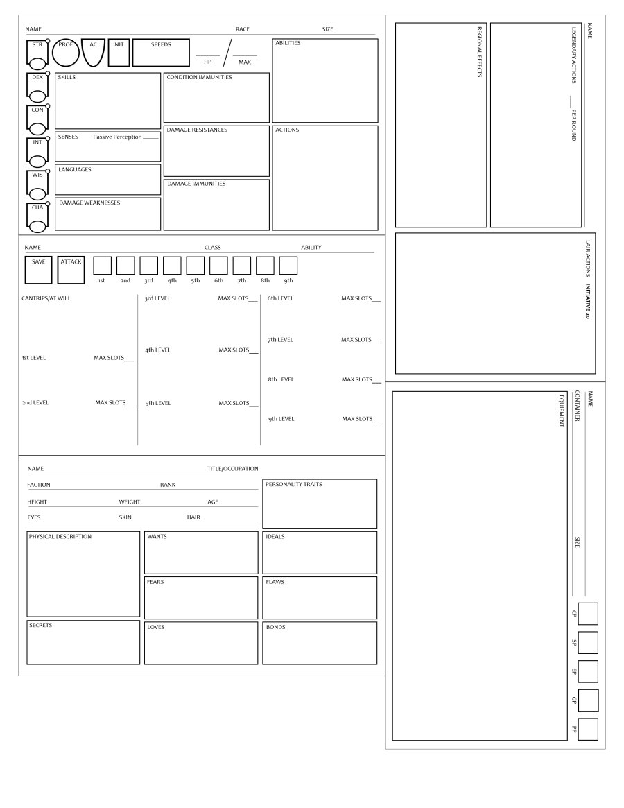 Condensed Npc/monster Sheets - Printable Pdfs - Dungeon Masters Guild |  Dungeon Masters Guild