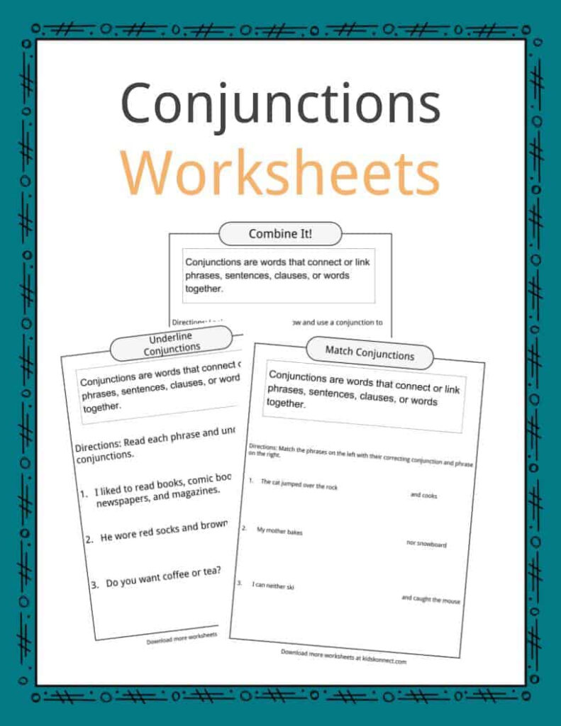 Conjunctions Examples, Definition & Worksheets For Kids