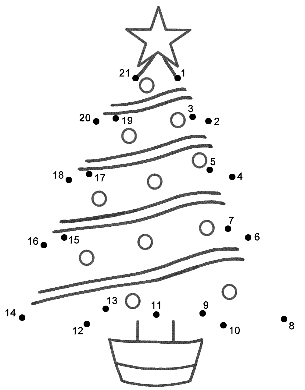 Connect The Dots Page | Christmas Tree Coloring Page