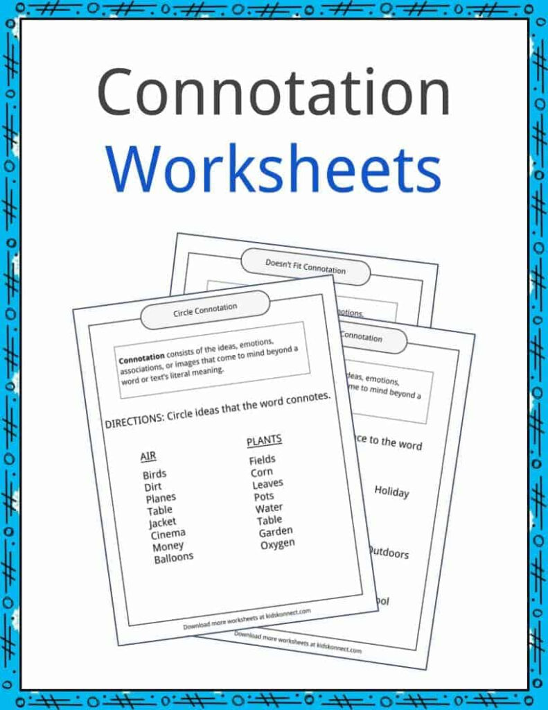 Connotation Examples, Definition And Worksheets   Kidskonnect