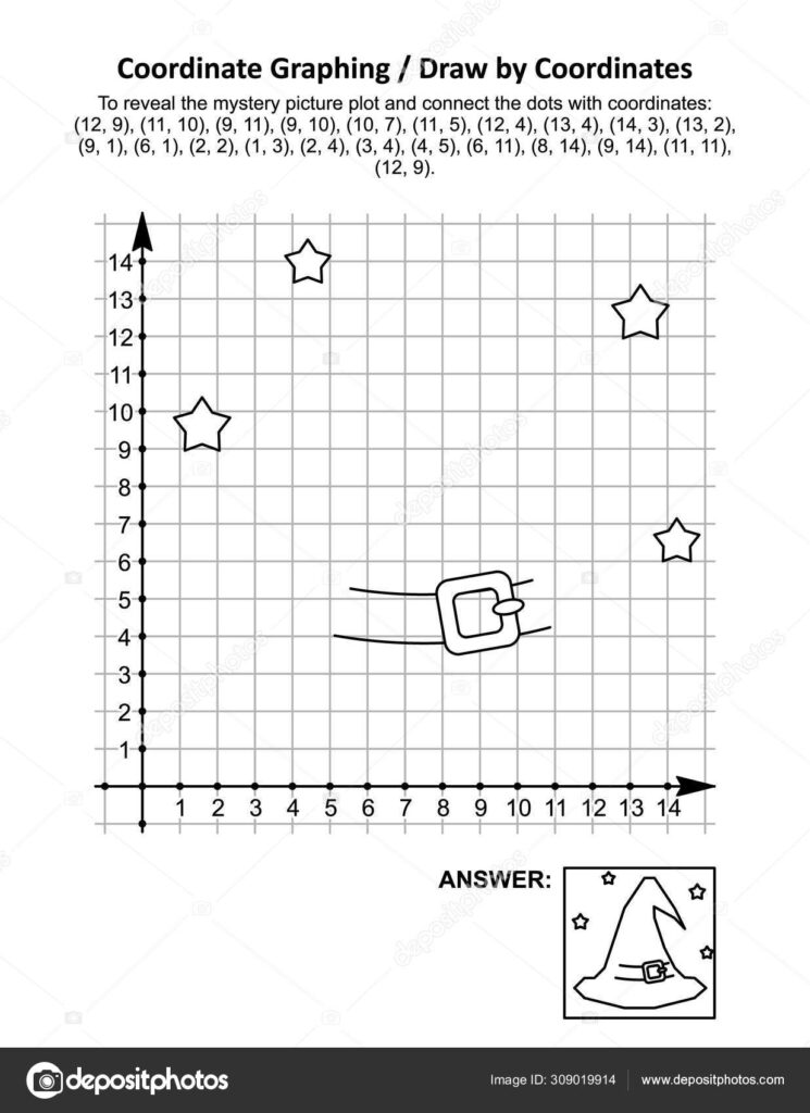 Coordinate Graphing, Or Drawcoordinates, Math Worksheet With Halloween  Witch Hat: To Reveal The Mystery Picture Plot And Connect The Dots With