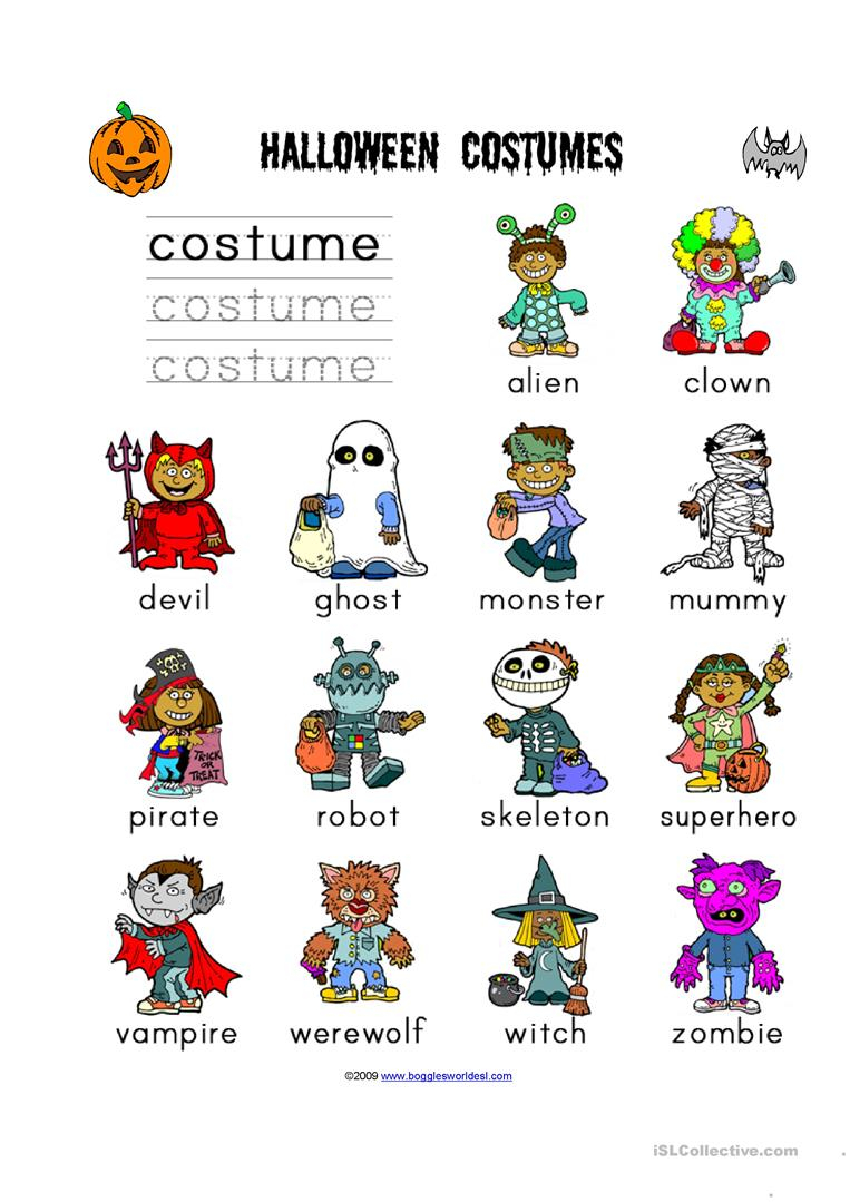 Costume Vocab - English Esl Worksheets For Distance Learning