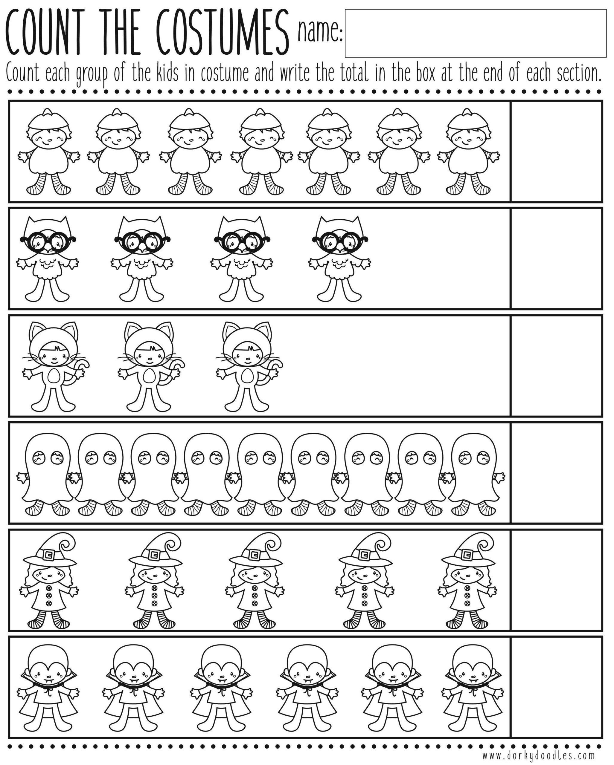 Count The Costumes Printable Worksheet   Kindergarten