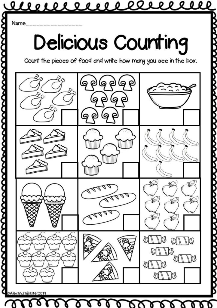 Counting To 10 Worksheets For Kindergarten   Christmas Math