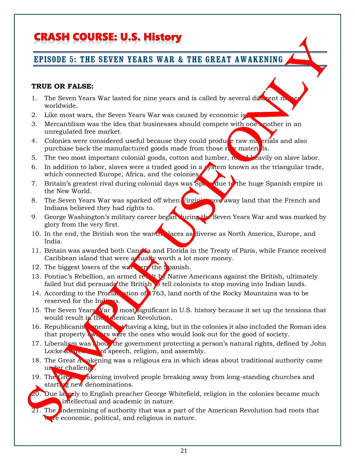 Crash Course U.s. History Worksheets Make Teaching