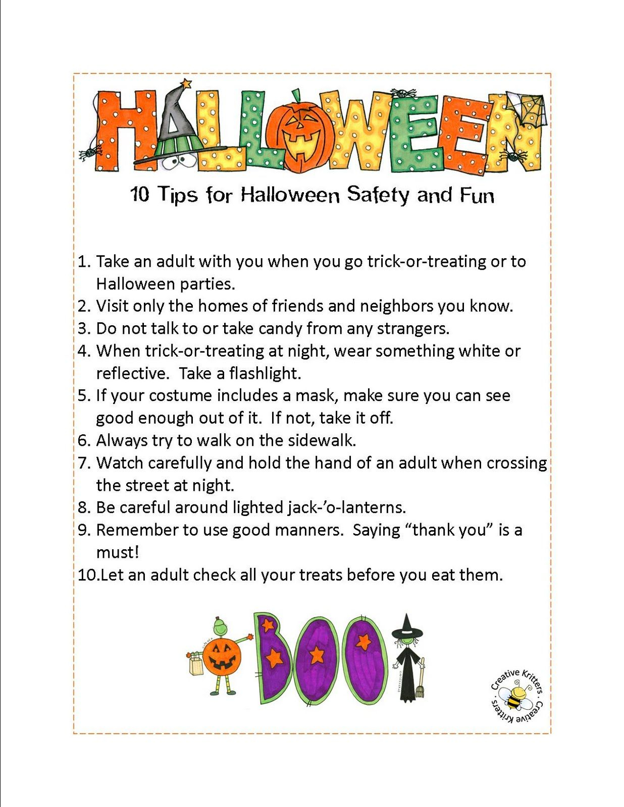 Creative Kritters | Halloween Safety, Halloween Safety Tips