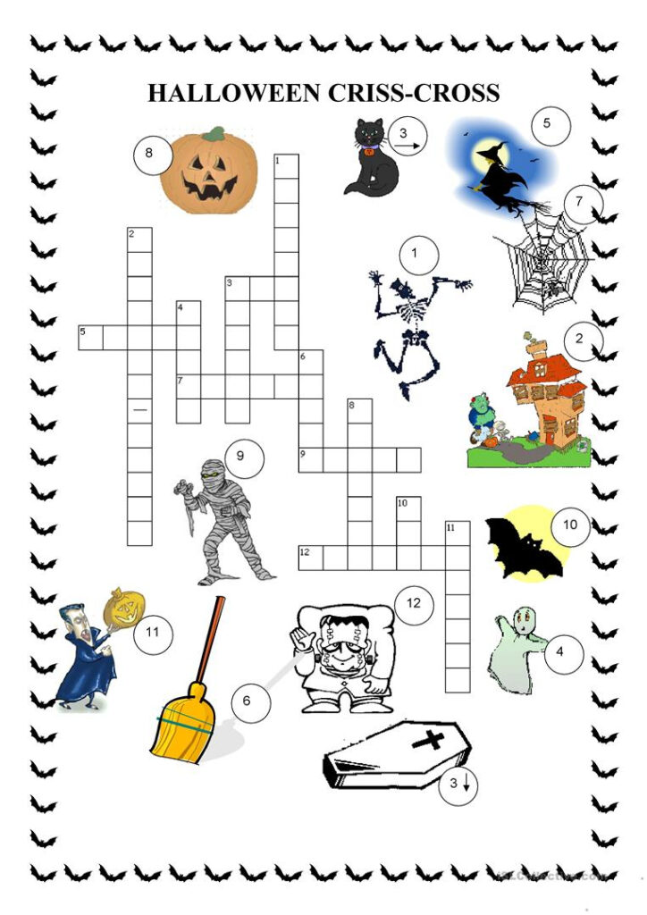 Crosswords   Halloween   English Esl Worksheets For Distance