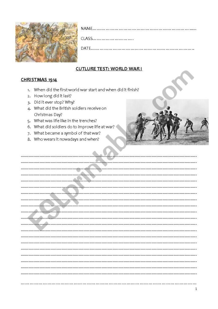 Culture Test: World War 1   Esl Worksheetcarmen.chiametti