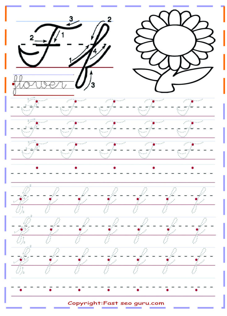 Cursive Handwriting Tracing Worksheets For Practice Letter F