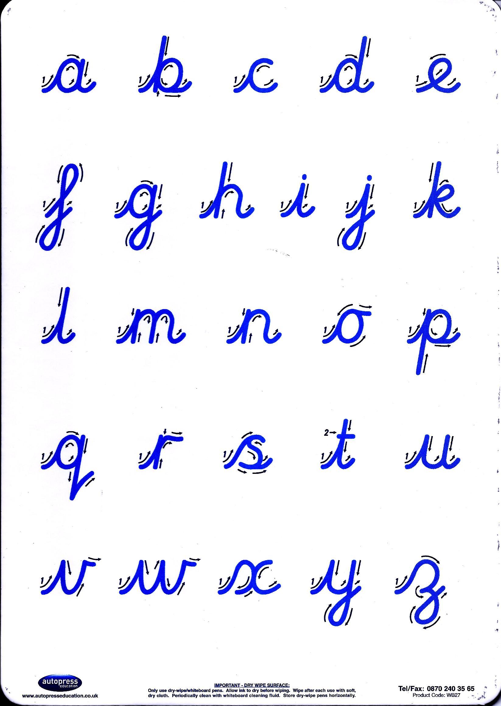 Cursive Letter Formation Practice Board