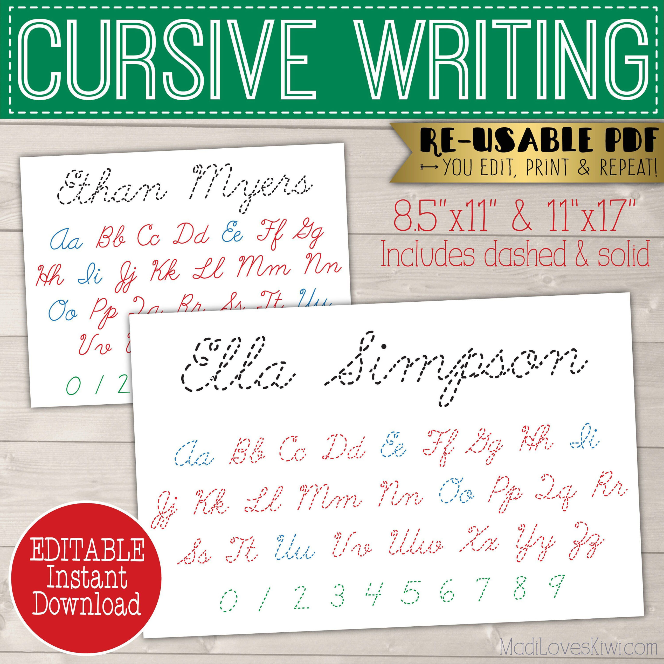 Cursive Name Writing Worksheet Printable Handwriting   Etsy