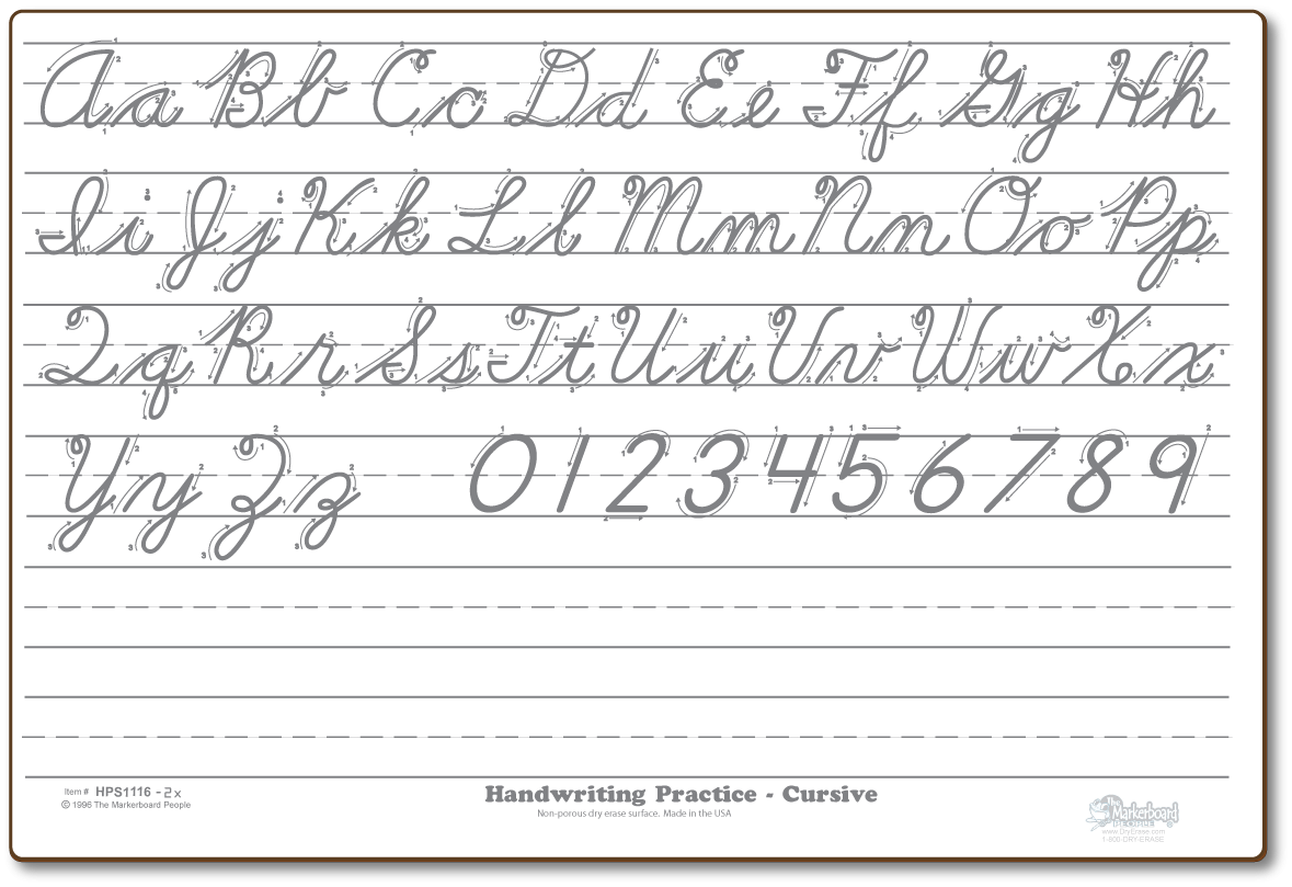 Cursive Practice. Notice The Diagram Instructions On How To