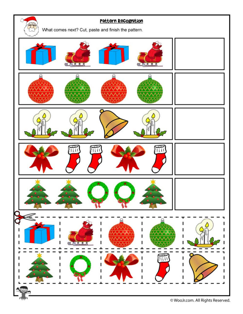 Cut And Paste Christmas Pattern Recognition Worksheet Woo Jr