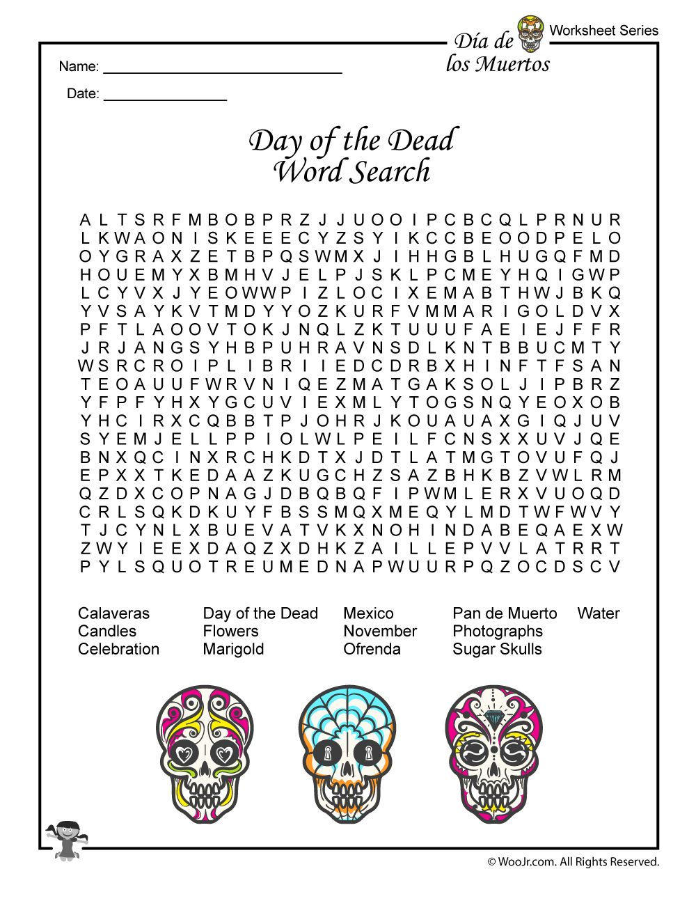 Day Of The Dead Activities, Worksheets & Lesson Plan   Woo