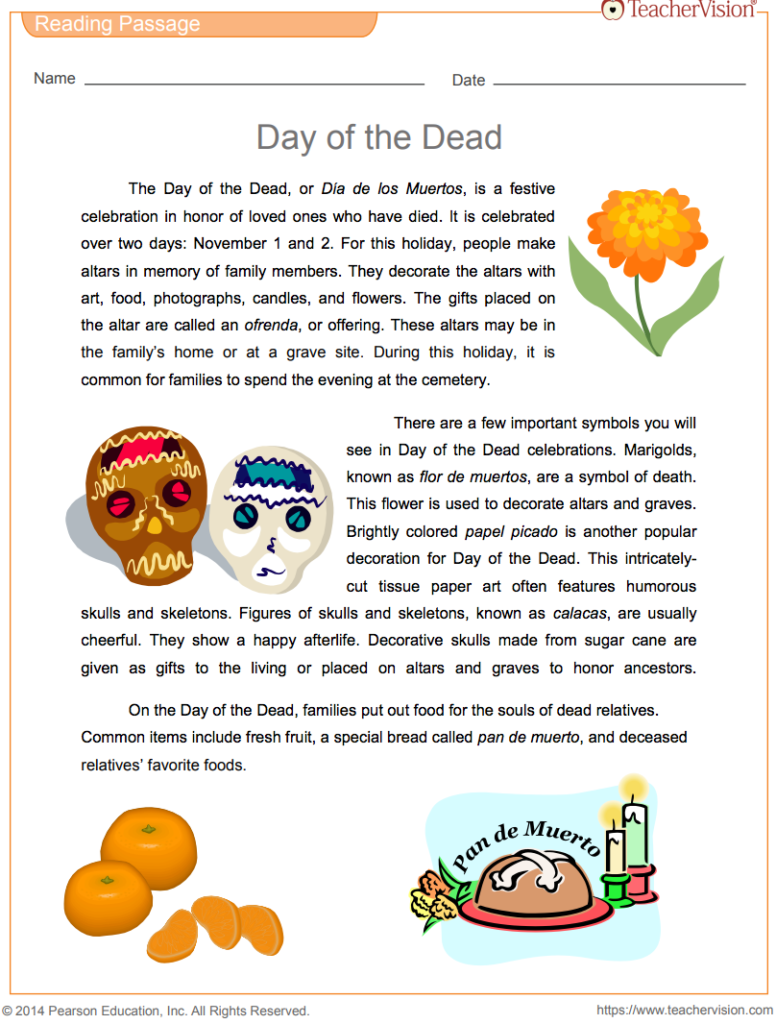 Day Of The Dead Reading Passage & Vocabulary Printable