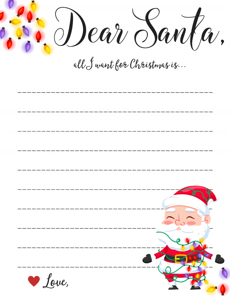Dear Santa Letter: Free Printable Downloads -