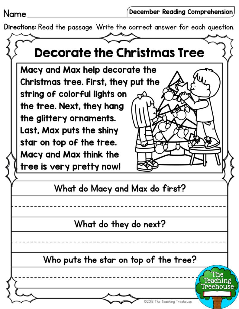 December Reading Comprehension Passages For Kindergarten And