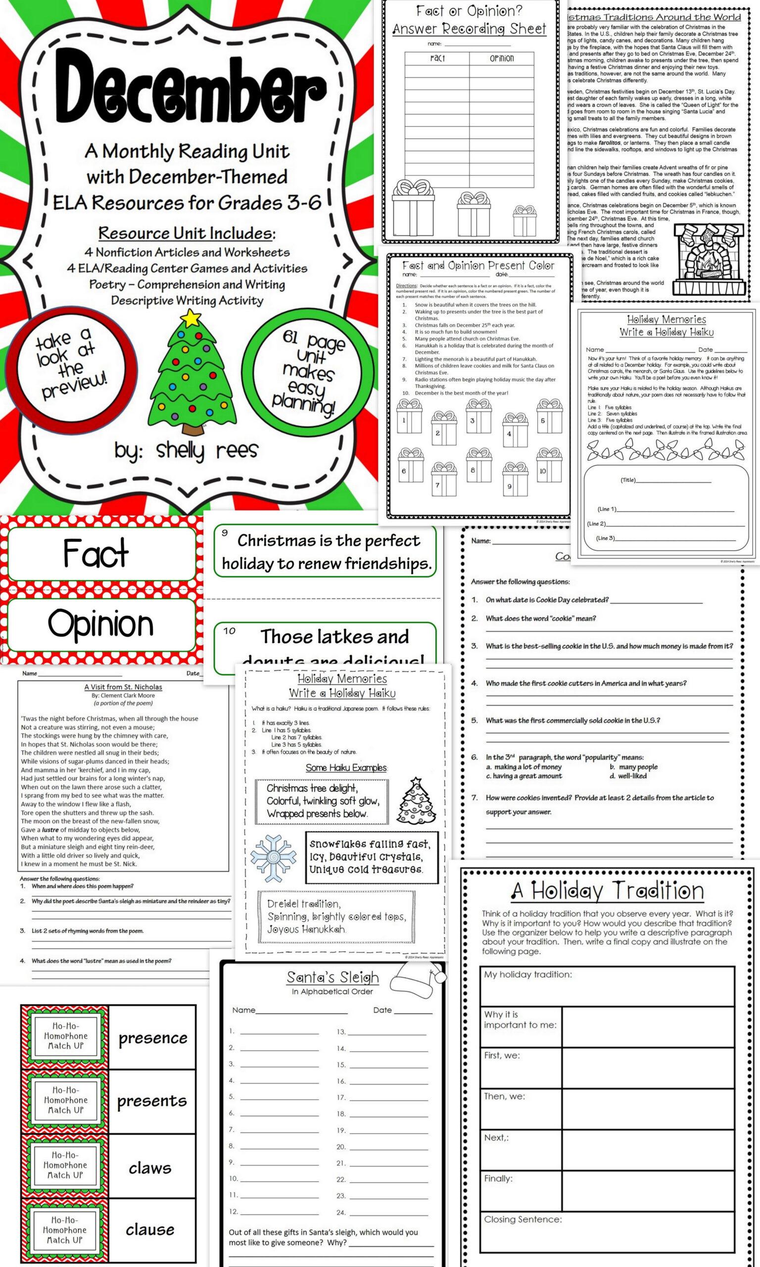 December Reading/ela Resource Packet - Grades 4, 5, And 6