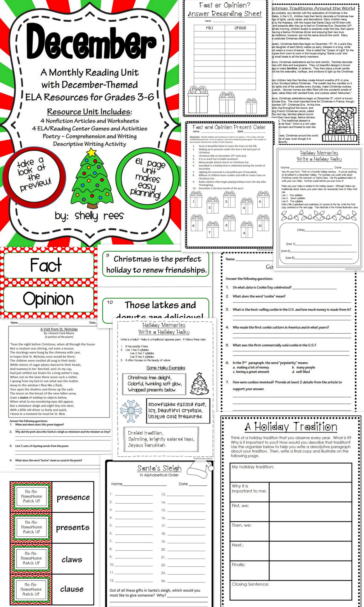 December Reading/ela Resource Packet - Grades 4, 5, And 6