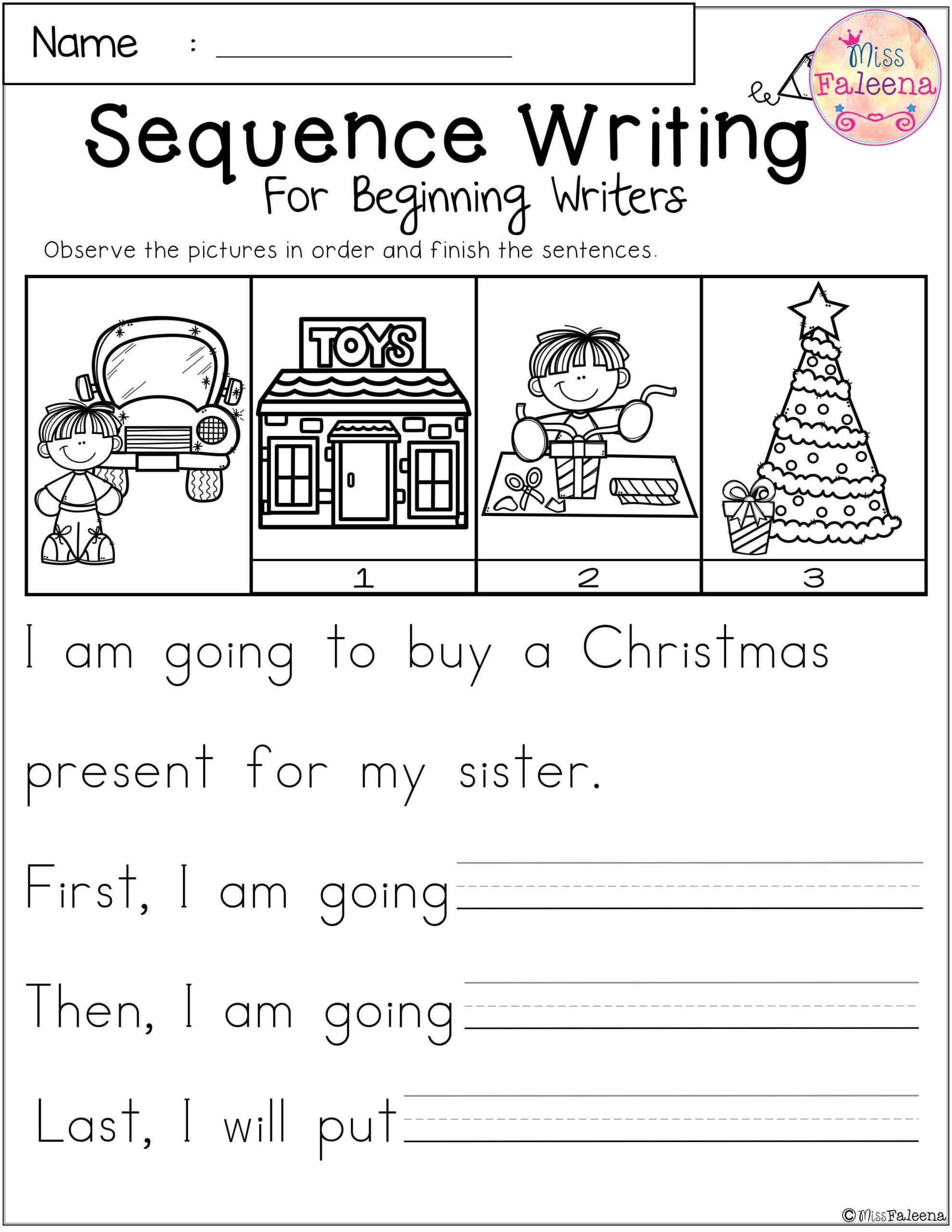 December Sequence Writing For Beginning Writers Kindergarten