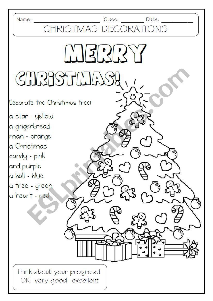 Decorate The Christmas Tree - Esl Worksheetmakigi