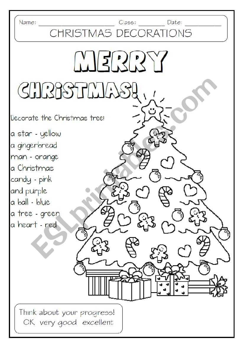 Decorate The Christmas Tree - Esl Worksheetmakigi