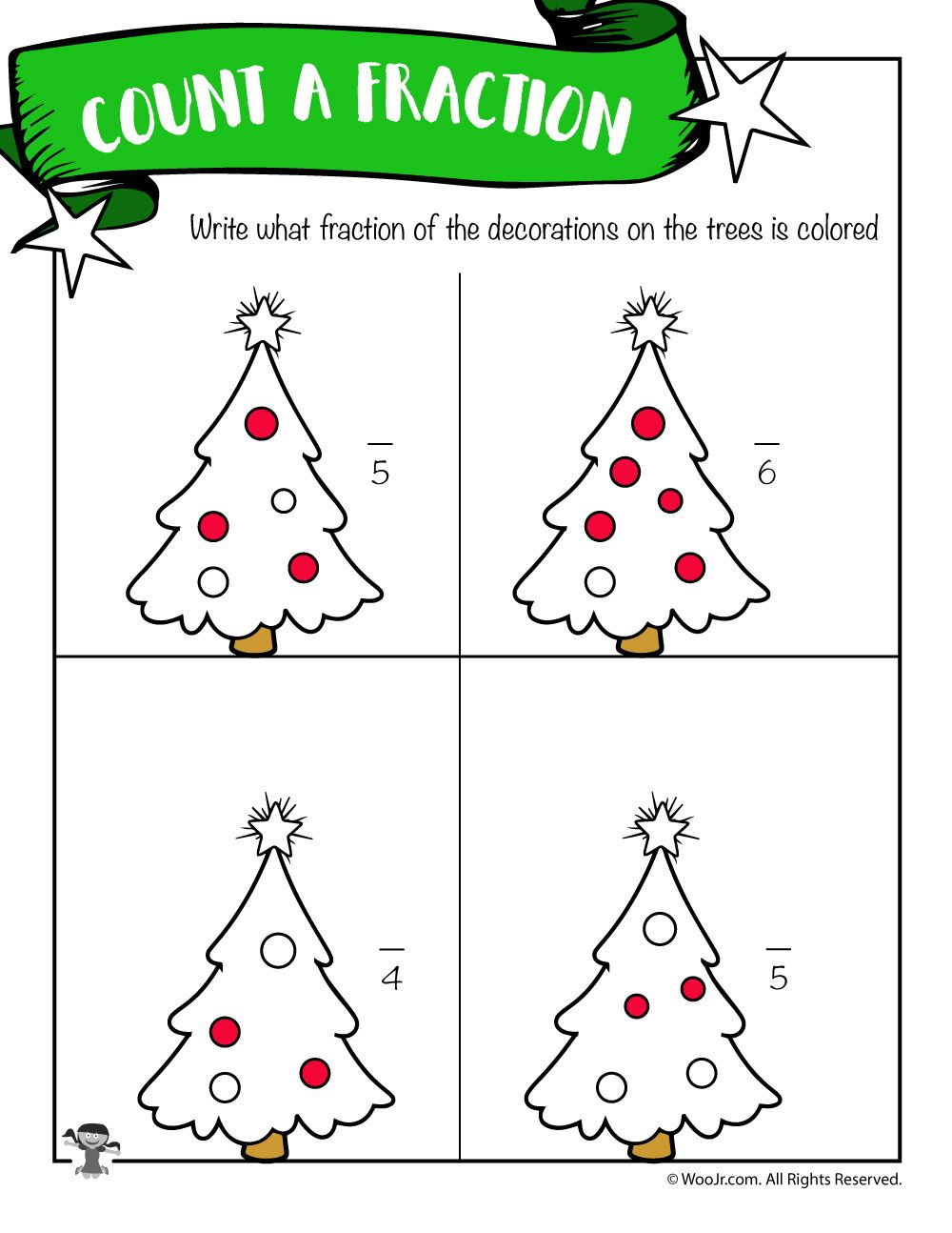 Deduce The Fraction Worksheet With Christmas Trees | Woo! Jr