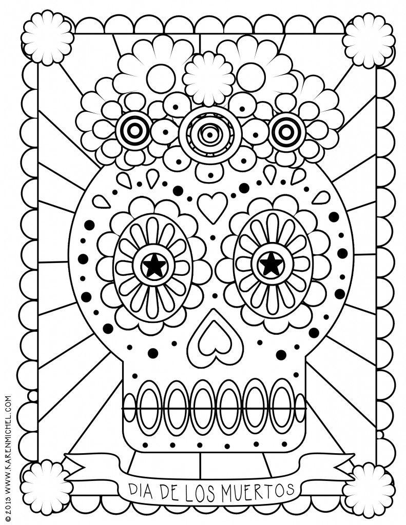 Dia De Los Muertos Coloring Sheet | Skull Coloring Pages