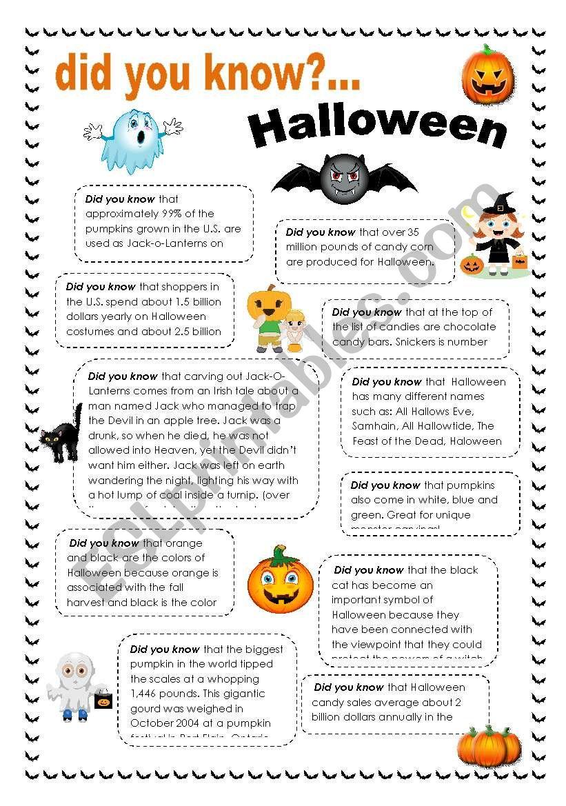 Did You Know Halloween - Esl Worksheetintothefire