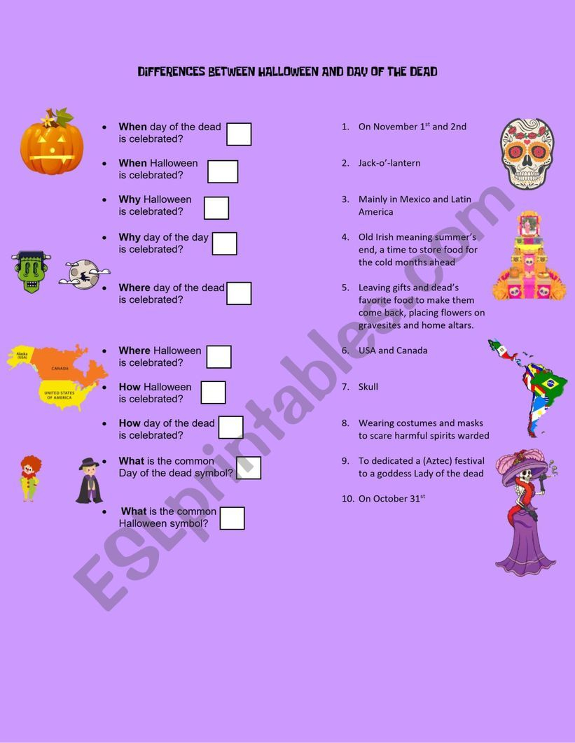 Differences Halloween Vs Day Of The Dead - Esl Worksheet