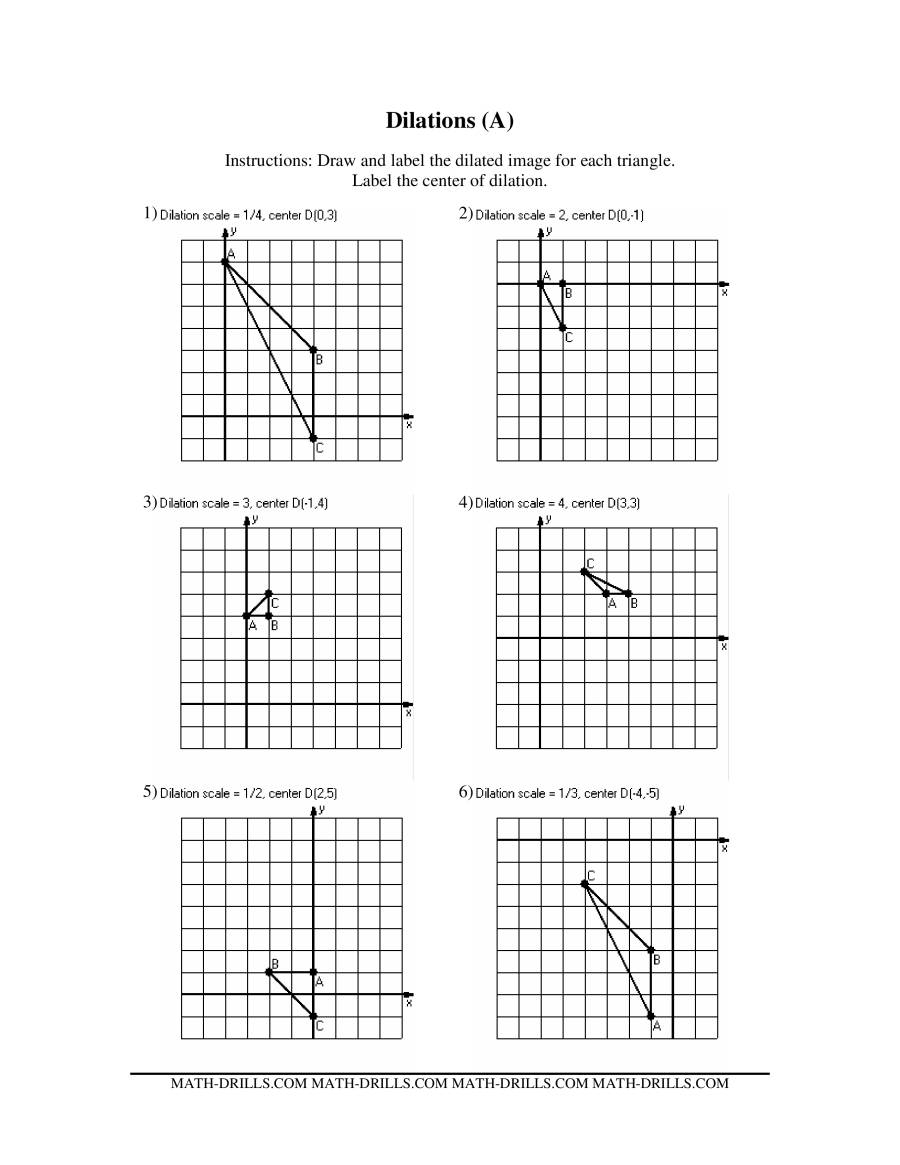 Dilations Old Version Dilation In Math Worksheets Pin 7Th
