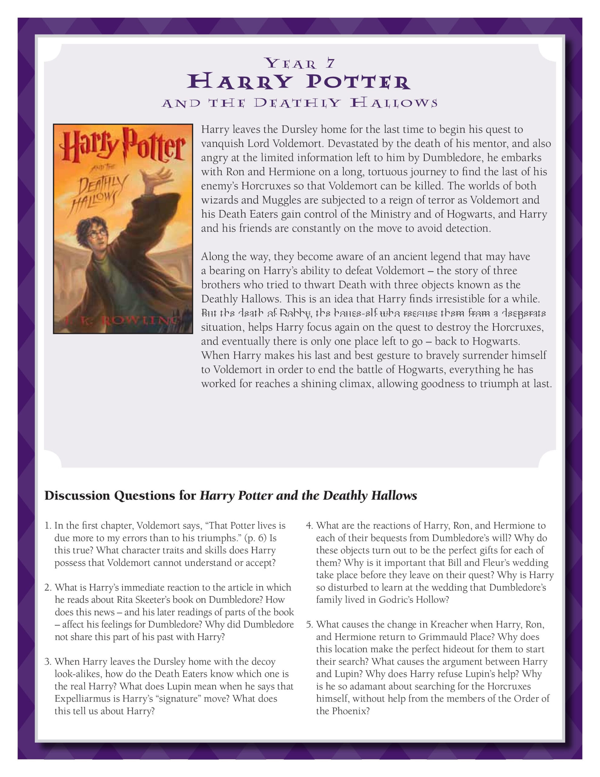 Discussion Guide For Harry Potter And The Deathly Hallows