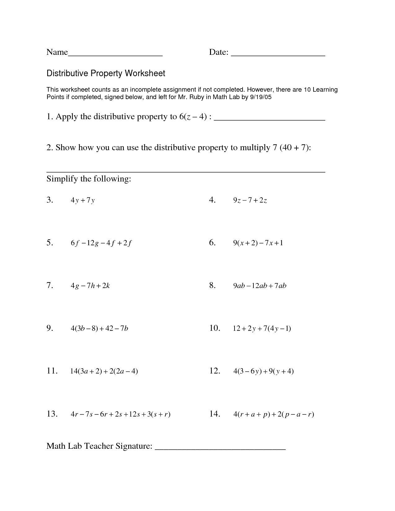 Distributive Property With Variable Worksheet | Printable