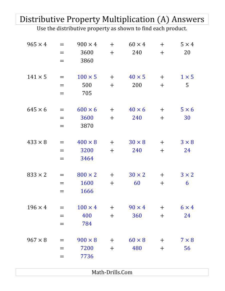 Distributive Property Worksheets Grade 3 Multiply 3 Digit