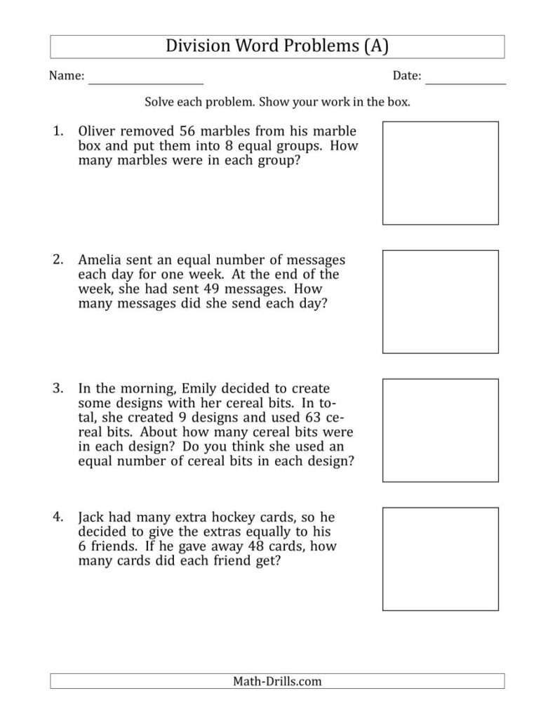 Division Word Problems With Division Facts From 5 To 12 (A)