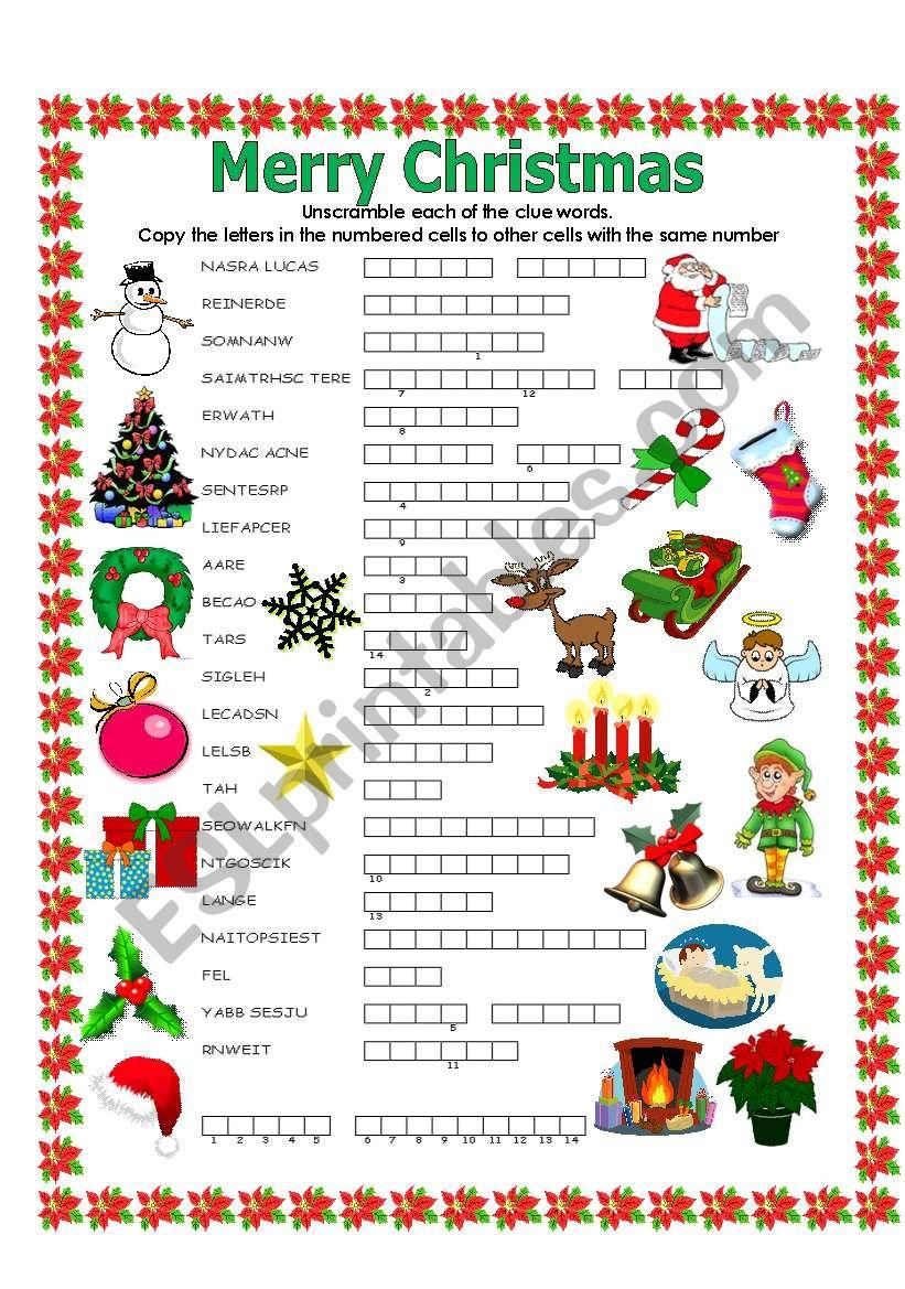 Double Puzzle (Christmas) - Esl Worksheetlupiscasu