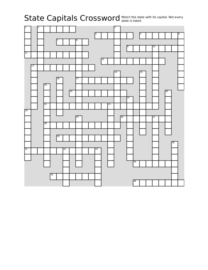 Download, Print, And Solve This State Capitals Crossword For