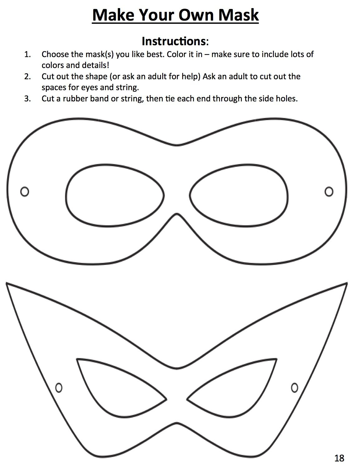 Download This Template To Design Your Own Superhero Mask