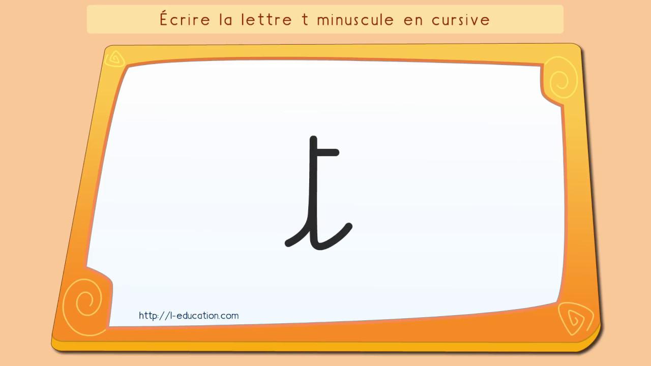 Écrire L'alphabet: Apprendre À Écrire La Lettre T En Minuscule En Cursive