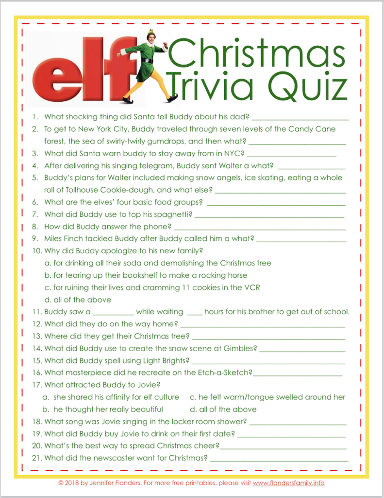 Elf Trivia Christmas Quiz (Free Printable)   Flanders Family