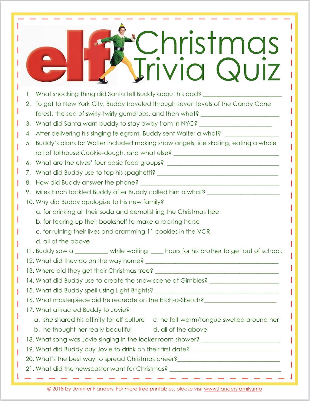 Elf Trivia Christmas Quiz (Free Printable) - Flanders Family