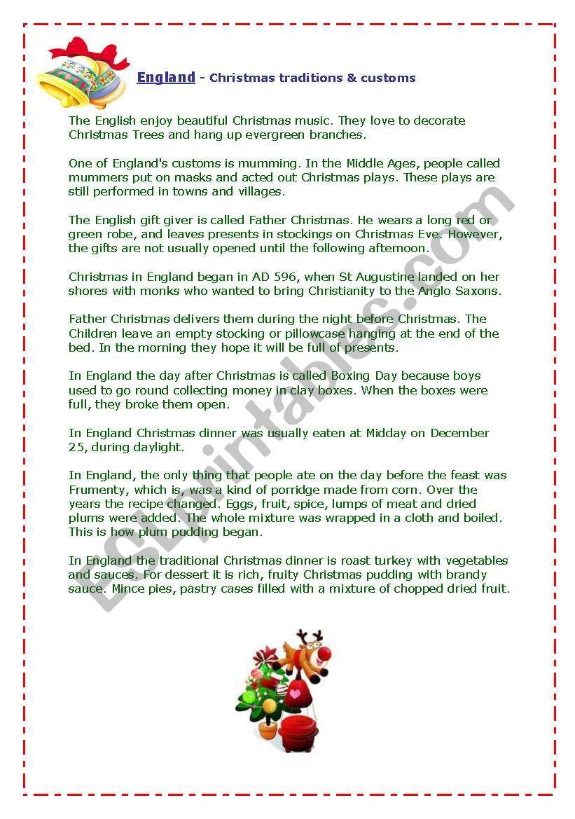 England - Christmas Traditions&customs - Esl Worksheet