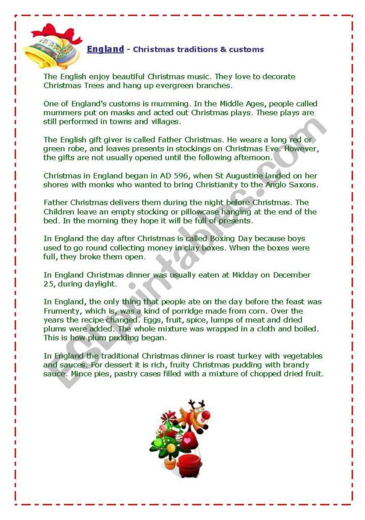 England   Christmas Traditions&customs   Esl Worksheet