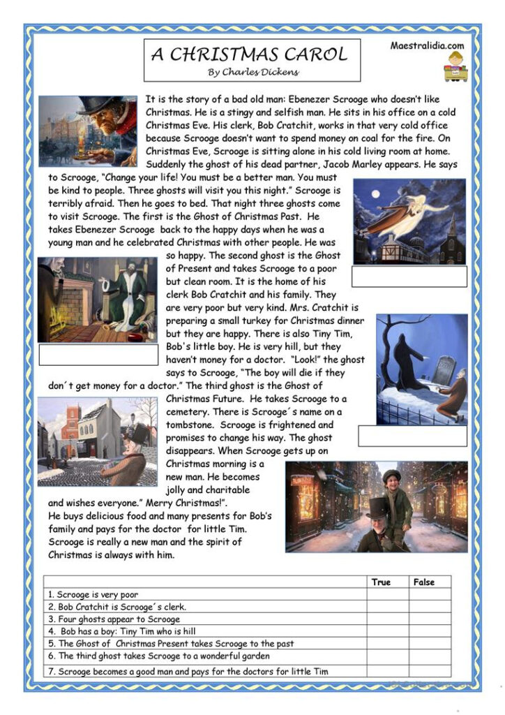 English Esl Christmas Carol Worksheets   Most Downloaded (33