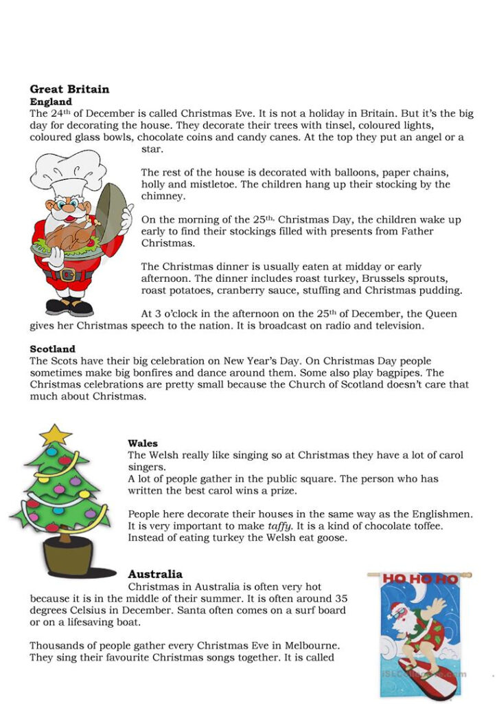 English Esl Christmas Traditions Worksheets   Most