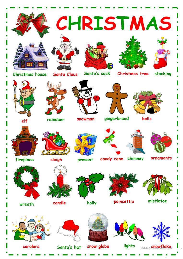 English Esl Christmas Vocabulary Worksheets - Most